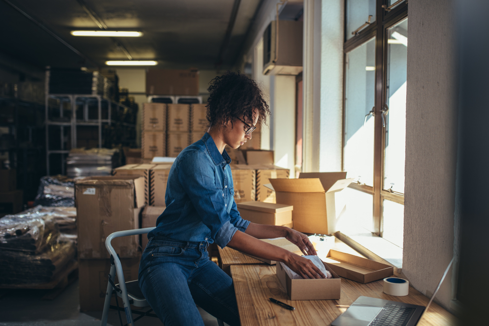 Female,Business,Owner,Working,,Packing,The,Order,For,Shipping,To