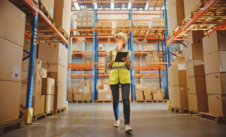 Professional,Female,Worker,Wearing,Hard,Hat,Checks,Stock,And,Inventory